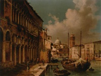figures before a palazzo on a venetian backwater with san giorgio maggiore beyond by luigi querena