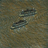 two ferries passing (set of 10) by yvonne jacquette