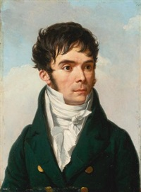 portrait of a gentleman, head and shoulders, wearing a black coat and white shirt by francois-xavier fabre