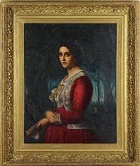 portrait einer dame in brokatbesetztem seidenkleid by rudolf w. a. lehmann