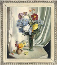 chrysanthemums, daisies and other flowers in a glass vase by vernon ward