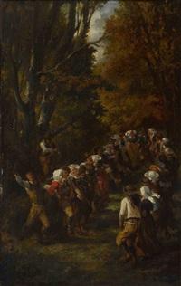 tanzende bretonische bauern auf der waldlichtung by adolphe pierre leleux