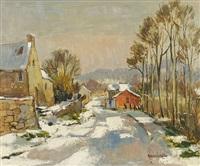 dorfstraße im winter by maurice lemaître