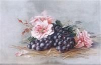 stilleben mit rosenblütten und blauen trauben by mina högel