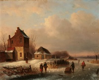 villagers on a frozen river by louis smets