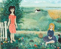 summer landscape with two women and a cat by max müller