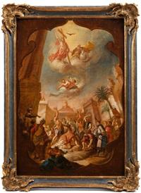 bozzetto für ein deckengemälde mit dem thema steinigung des heiligen stephanus by bartholomäus altomonte