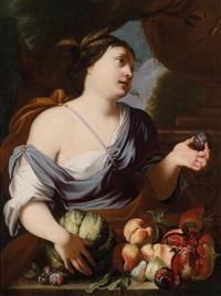 eine allegorische darstellung des sommers, ceres mit einem stillleben aus pfirsichen, feigen, granatapfel und kürbis by abraham brueghel and luigi garzi