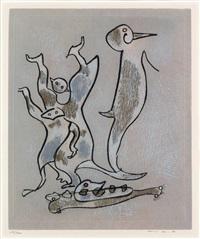 oiseaux et deux figures by max ernst