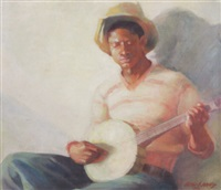 banjo player by v.b. wells
