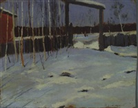 russian winter with figures in background by wladimir g. krikhatzkij