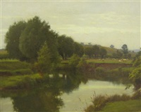 the old avon from nafford, the malvern hills in the distance on the stretcher by william blandford fletcher