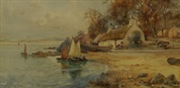 tranquil harbour with fishermen and cottages by james hughes clayton