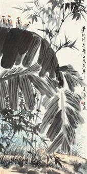 芭蕉竹雀图 by tang yun