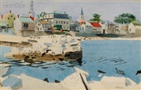coastal landscape/probably boothbay harbor, maine by george oberteuffer