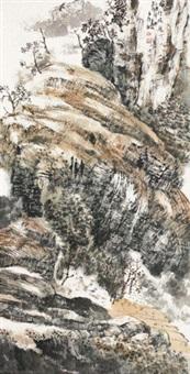 山水 立轴 设色纸本 by baiyun xiang
