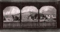 blick auf bauernhauser aus einer holzernen loggia by joszef konyoki