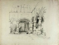 courtyard of a monastery (+ 2 others; 3 works) by johannes bosboom