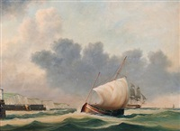 merchantman off a harbour (dover?) by jim thompson