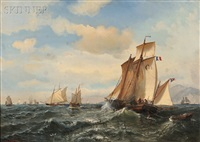 french fishing fleet off havre by julian o. davidson