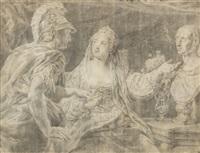 cleopatra muestra el busto de julio césar a octavio by pompeo girolamo batoni