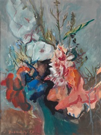 vase mit gladiolen by josef dobrowsky