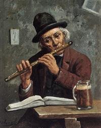 dorfmusikant mit flöte beim üben by wilhelm giessel
