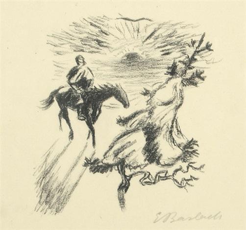 harzreise im winter i (einsamer reiter), pl. 26 (from j. w. von goethe, ausgewählte gedichte) by ernst barlach