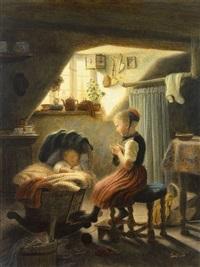 kleines mädchen mit strickzeug bewacht den schlaf des geschwisterchens in der wiege by carl bastini