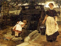a mother and child at a well by william small