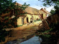 farmyard with woman feeding chickens by charles auty