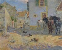 street scene with three horses, ducks and chickens by george owen wynne apperley
