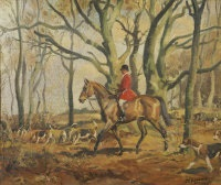 huntsman with hounds in woodland by john theodore eardley kenney