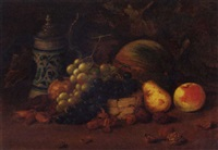a tankard with grapes, plums, a pear, an apple, a melon and nuts by arthur charles dodd