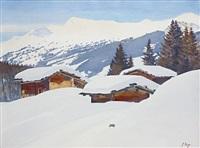 hameau enneigé dans les alpes by gottlieb kagi