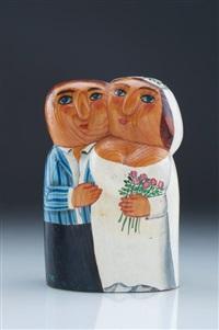 hochzeitspaar (+ darstellung kleiner, dem brautpaar zujubelnder kinder, verso) by lothar sell