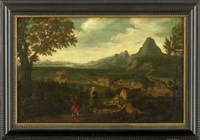 an extensive landscape with the flight into egypt by lucas gassel