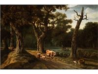 waldlandschaft mit kuh, schafen und einem angler by joris van der haagen
