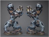 importante paire de lions héraldiques porte-torchères à 1 lumière en faïence (set of 2) by émile gallé