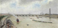 a busy day on the thames, before waterloo bridge by siebe johannes ten cate