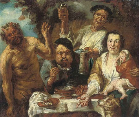 a satyr and three peasants feasting by jacob jordaens