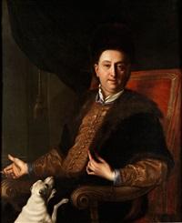 portrait eines adeligen herrn mit weissem hündchen by salomone adler