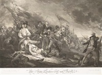 the battle at bunker's hill near boston, june 1775 (+ the death of general montgomery in the attack of quebec, december 1775; 2 works by j.g. mueller and j.t. clemens) by john trumbull