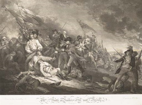 the battle at bunkers hill near boston june 1775 the death of general montgomery in the attack of quebec december 1775 2 works by jg mueller and jt clemens by john trumbull