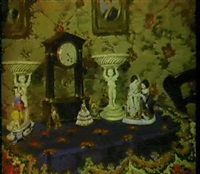 a still life with a clock and porcelain by elisabeth weber-fülöp