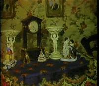 a still life with a clock and porcelain by elisabeth weber-fülöp