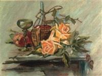 stilleben mit rosen, pfirsichen, weinflasche und glas by ferdinand dorsch