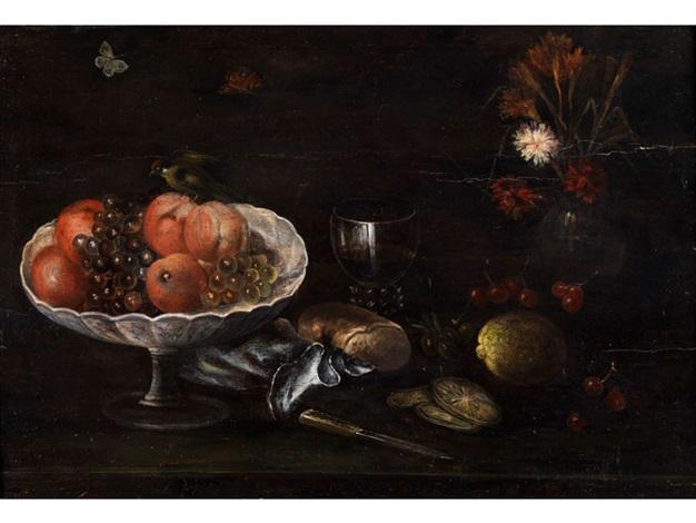 stilleben mit obstschale weinrömer blumenvase und brotlaib by anonymous italian 17