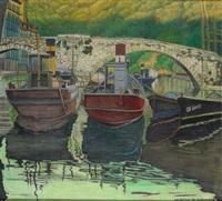 barcos de pesca en el puerto by valentín de zubiaurre