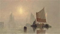 fishing boats in the early morning mist by c. webster